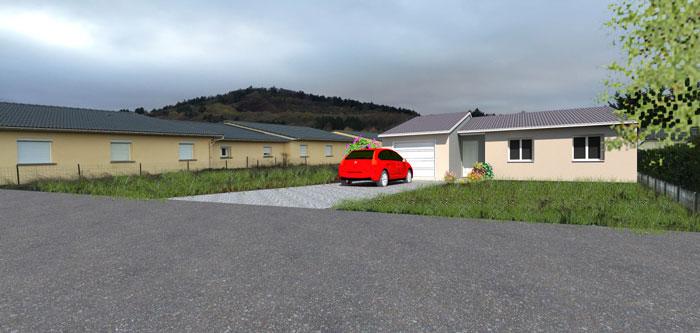 Projet d'une maison individuelle de plain pied. Couverture couleur ardoise, crépi gratté et volets roulants motorisés.