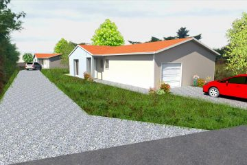 construction de deux maisons individuelles de plain-pied adaptées aux normes handicapées, composées de 3 chambres, salon et séjour ouvert sur cuisine et un garage simple. Début des travaux mai 2016